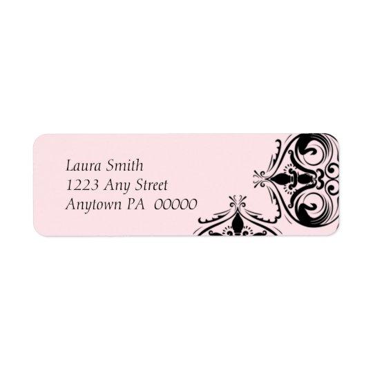 Pink & Damask Return  Address Label