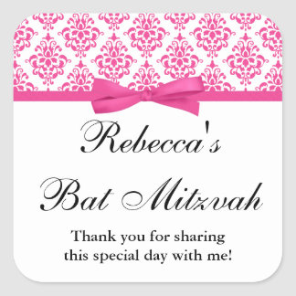 Pink Damask Ribbon Bow Bat Mitzvah Square Sticker