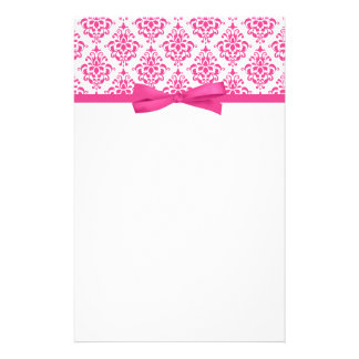 Pink Damask Ribbon Bow Stationery