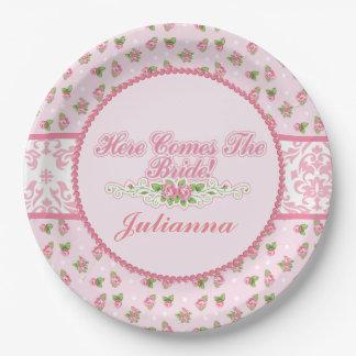 Pink Damask, Rose Embellishments, Bridal Shower 9 Inch Paper Plate