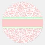 Pink Damask Round Stickers