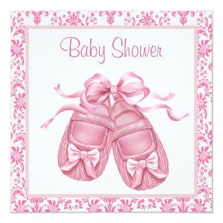 Pink Damask Satin Booties Baby Girl Shower Card