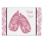 Pink Damask Satin Booties Baby Girl Thank You Card