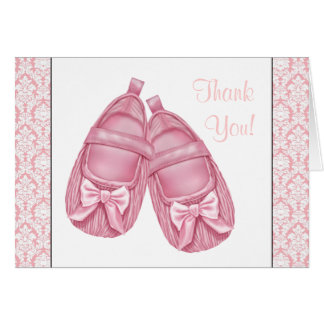 Pink Damask Satin Booties Baby Girl Thank You Cards
