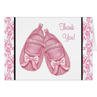 Pink Damask Satin Booties Baby Girl Thank You Note Card
