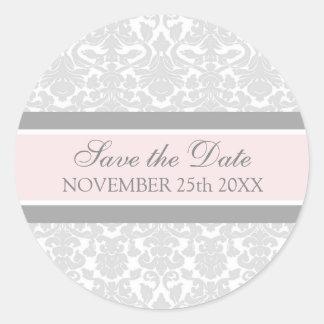 Pink Damask Save the Date Envelope Seal