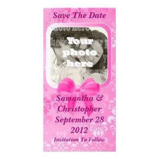 Pink damask save the date wedding customized photo card