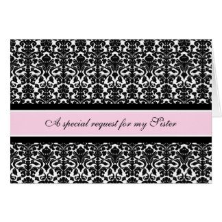 Pink Damask Sister Bridesmaid Invitation Card