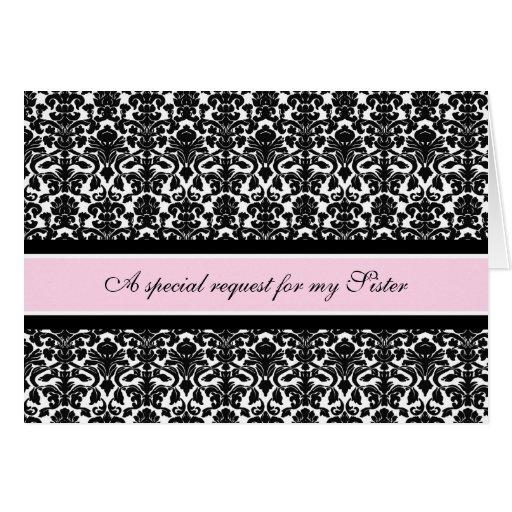 Pink Damask Sister Bridesmaid Invitation Card