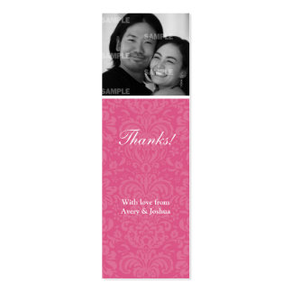 Pink Damask Skinny Favor Tag Business Card