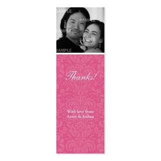 Pink Damask Skinny Favor Tag Pack Of Skinny Business Cards