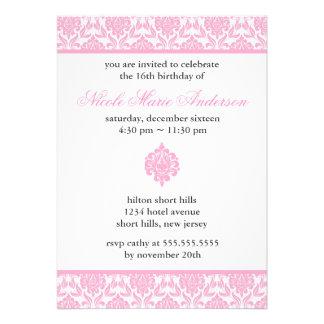 Pink Damask Sweet Sixteen Invitations