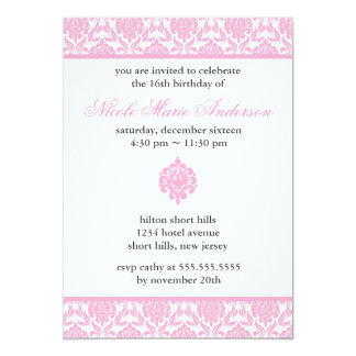 "Pink Damask Sweet Sixteen Invitations 5"" X 7"" Invitation Card"