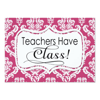 Pink Damask, Teachers Have Class Personalized Invitation