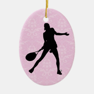 Pink Damask Tennis Christmas Ornament for Girls