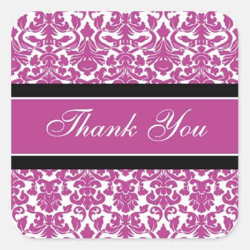 Pink Damask Thank You Wedding Envelope Seals Sticker