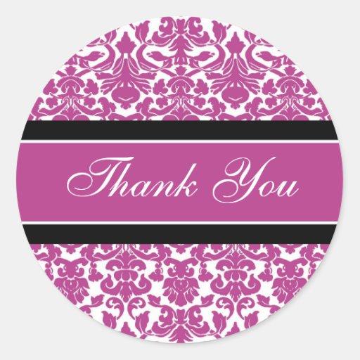Pink Damask Thank You Wedding Envelope Seals Round Stickers