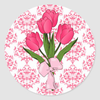 Pink Damask & Tulips Sticker