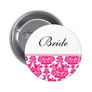 pink damask wedding buttons