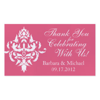 Pink Damask Wedding Favor Tags Pack Of Standard Business Cards
