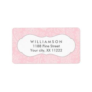 Pink damask wedding or baby bridal shower address label