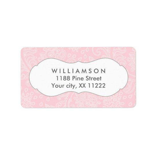 Pink damask wedding or baby bridal shower label