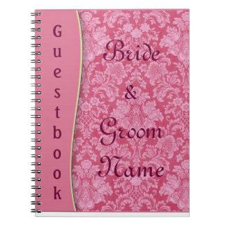 Pink Damask Wedding or Shower Guestbook Notebook