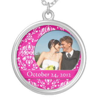 Pink Damask Wedding Photo Pendant