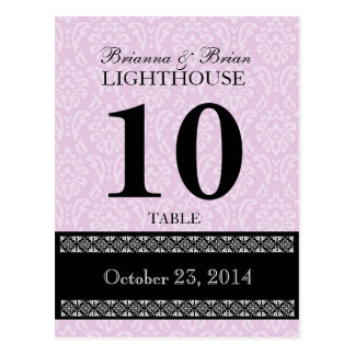 Pink  Damask Wedding Table Number Card Reception