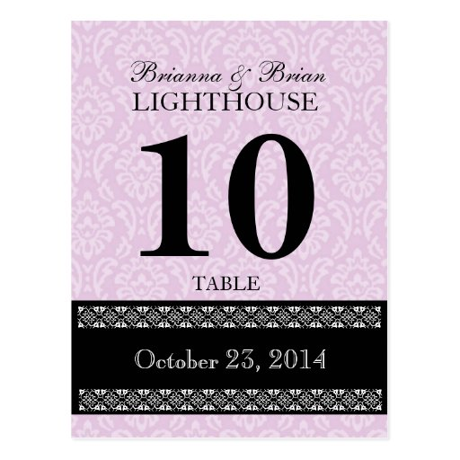 Pink  Damask Wedding Table Number Card Reception Post Cards