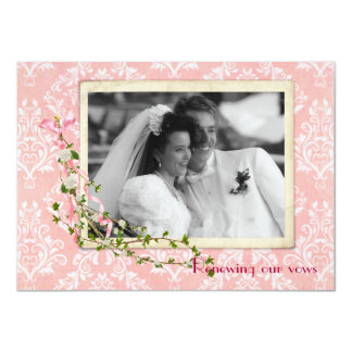Pink Damask  Wedding Vow Renewal Card