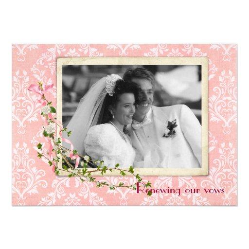 Pink Damask  Wedding Vow Renewal Invitation