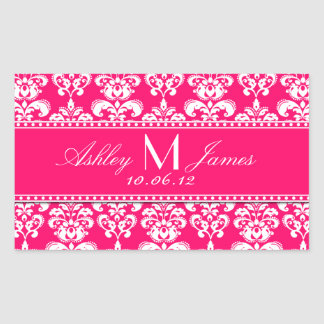 Pink Damask Wedding Wine Label Rectangle Sticker