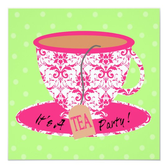 Pink Damask with Green Tea Cup Tea Party