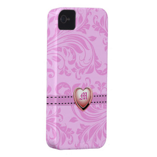 Pink Damask with Monogram Heart iPhone 4 Case-Mate Case