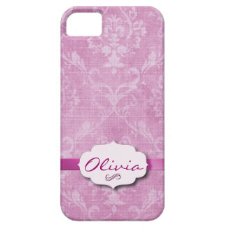 Pink Damask with nameplate iPhone 5 Cases