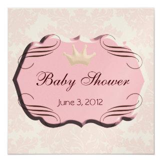 Pink Damask with Pink Darling Frames Beveled 13 Cm X 13 Cm Square Invitation Card