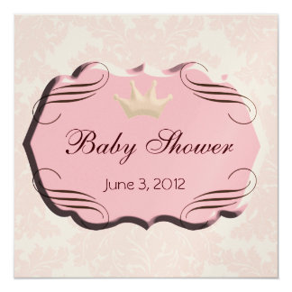 Pink Damask with Pink Darling Frames Beveled Custom Announcement