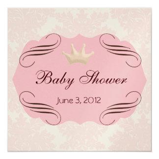 Pink Damask with Pink Darling Frames Invite