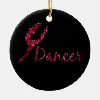 Pink Dance Ornament | Faux Glitter Dancer Ornament