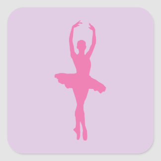 Pink Dancing Ballerina Square Sticker