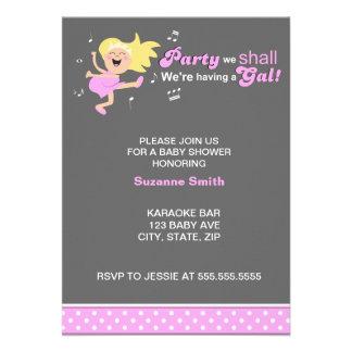 Pink Dancing Mom-to-be modern girl baby shower Custom Invite