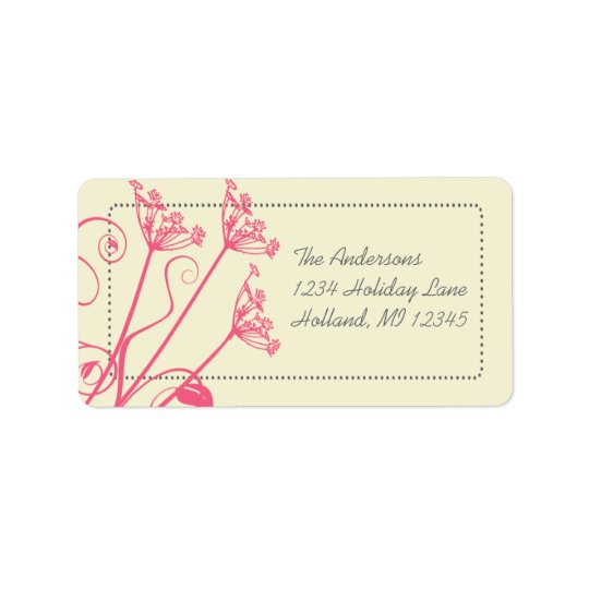Pink Dandelion Damask Return Address Labels