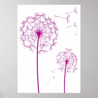 pink dandelion posters