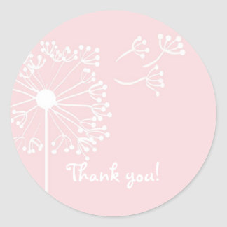 Pink Dandelion Stationary Classic Round Sticker