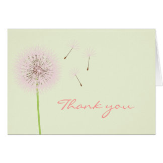 Pink Dandelion Thank You Card