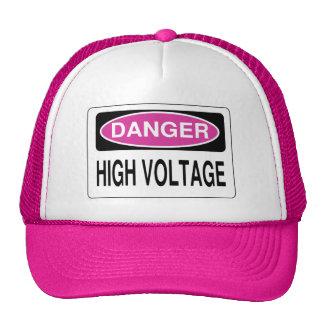 Pink Danger High Voltage Hazard Sign Hat