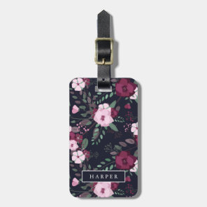 Pink & Dark Blue Rose Pattern Custom Name Address Luggage Tag