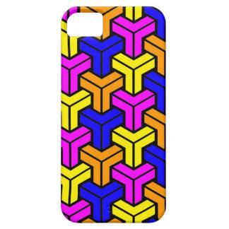 Pink, Dark Blue, Yellow, Orange Geometric Pattern Barely There iPhone 5 Case