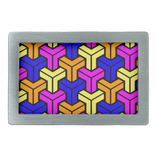 Pink, Dark Blue, Yellow, Orange Geometric Pattern Belt Buckles